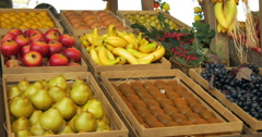 Fresh fruit in wooden box Stock Footage