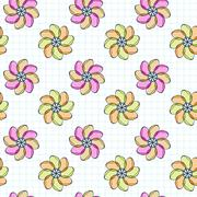 Vector seamless pattern of flowers on a checkered paper Stock Illustration