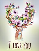 Vector watercolor hand drawn floral set with deer. Colorful flor Stock Illustration