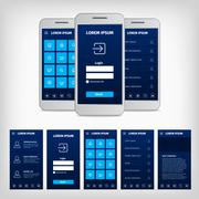 vector conception of blue mobile user interface - stock illustration
