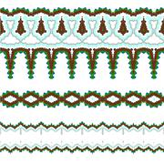 Set of vector exquisite filigree borders or brush style mosaics and inlay - stock illustration