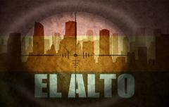 Stock Illustration of sniper scope aimed at the abstract silhouette of the city with text El Alto a