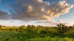 Time lapse. Russia. Rostov region, the Caucasus. Moving clouds over the steppe. Stock Footage