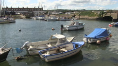 Boats in Axmouth Harbour Seaton Devon Stock Footage