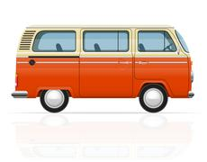 Stock Illustration of retro minivan vector illustration