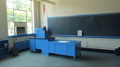 Old High School Classroom with Chalkboard, Teacher's desk and Lectern Stock Footage