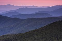 The Great Smoky Mountains in Tennessee at dusk. Stock Photos