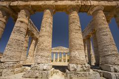 Stock Photo of Columns of the Temple of Segesta in Sicily.