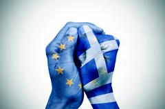 Hands patterned with the European and the Greek flag put together Stock Illustration