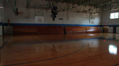 Old Wooden Floor High School Gymnasium - stock footage
