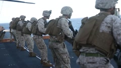 Marines and sailors deckshoot Aboard USS Bonhomme Richard Stock Footage