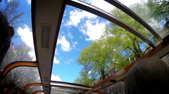 Amsterdam canals boat sunroof, slow motion, sky view Stock Footage
