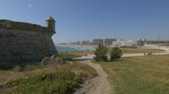 Beautiful sight of Castelo do Queijo and the beach, Porto Stock Footage