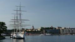 The af Chapman of the islet Skeppsholmen Stock Footage