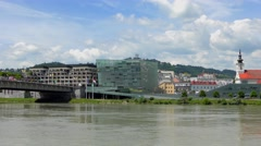 4K footage of the Ars Electronica Center in Linz, Austria Stock Footage