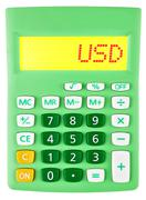 Calculator with USD on display on white Stock Photos