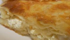 Burek fast food made in Serbia 4K 2160p UHD video - Burek traditional  breakf Stock Footage