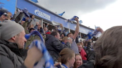Happy fans celebrating the goal Stock Footage