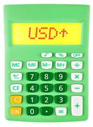 Calculator with USD on display on white - stock photo