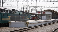 Russia.Moscow - 2013: Locomotive arrive to the station - stock footage