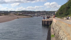 Entrance to Axmouth Harbour Seaton Devon Stock Footage