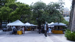 PEOPLE VISIT ARTISANS STANDS at Paseo La Princesa - Old San Juan - Puerto Rico 2 Stock Footage