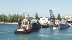 Shipyard Fleet warships Stock Footage