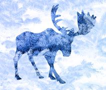 Double exposure. Moose Stock Illustration