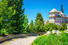 White hotel on a mountain lake Strbske Pleso Stock Photos