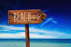 Beach Rustic Direction Sign Stock Photos