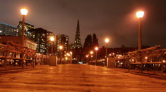 Transamerica Pyramid at night in San Francisco, California Stock Footage