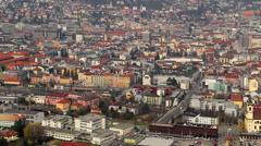 Calm western European town, Austrian Innsbruck city, aerial view - stock footage