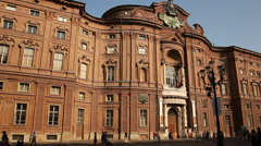 Palazzo Carignano in Turin, Italy Stock Footage
