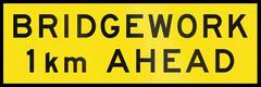 Bridgework 1 km Ahead In Australia Stock Illustration
