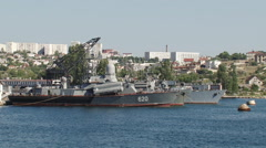 warships in the port - stock footage