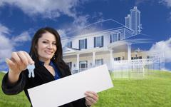 Woman Holding Keys, Blank Sign with Ghosted House Drawing Behind Stock Illustration