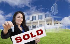 Woman Holding Keys, Sold Sign with Ghosted House Drawing Behind - stock illustration