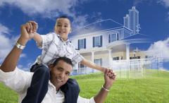 Hispanic Father and Son with Ghosted House Drawing Behind - stock illustration