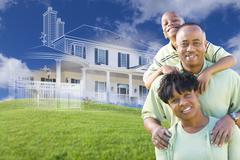 African American Family with Ghosted House Drawing Behind - stock illustration