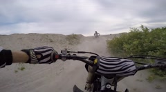 Mx pov sprayed with sand in berm slo mo Stock Footage