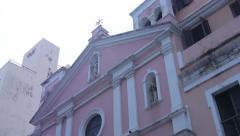 OLD COLONIAL ERA CATHOLIC CHURCH in Old San Juan Stock Footage