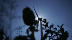 Wind Turbine Back lit - stock footage