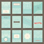 Stock Illustration of Set of perfect holiday templates with doodles tribal theme