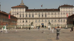 Piazza Castello and Palazzo Reale in Turin, Italy Stock Footage