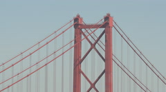 Close up view of the pylon of 25th of April bridge, Lisbon Stock Footage