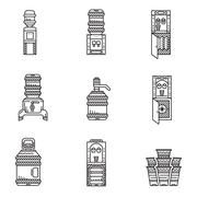 Water cooler black line icons set Stock Illustration