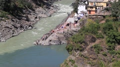 Devprayag, River is known as Ganga. Uttarakhand, India. Stock Footage
