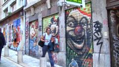Graffiti in the Art District of Lyon, France Stock Footage