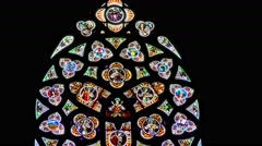 One of the stained-glass windows of the New Cathedral in Linz, Austria Stock Footage