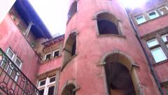 Hidden, Red Traboule in Lyon, France Stock Footage
